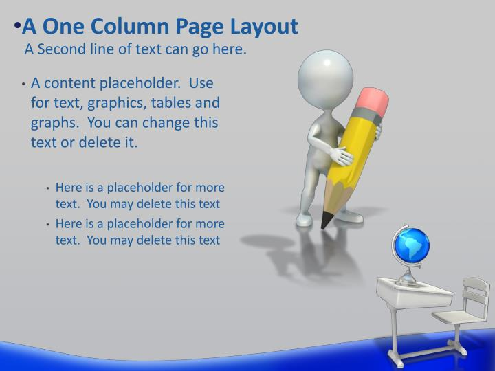 A One Column Page Layout