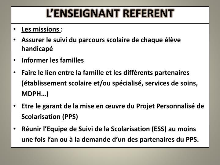 L'ENSEIGNANT REFERENT