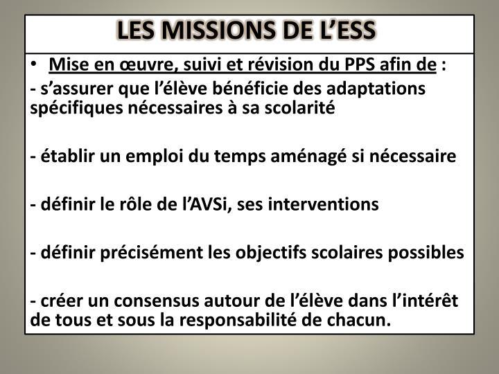 LES MISSIONS DE L'ESS