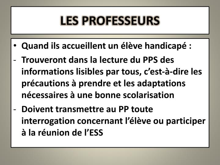 LES PROFESSEURS