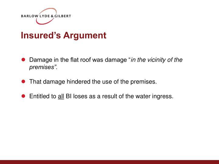 Insured's Argument