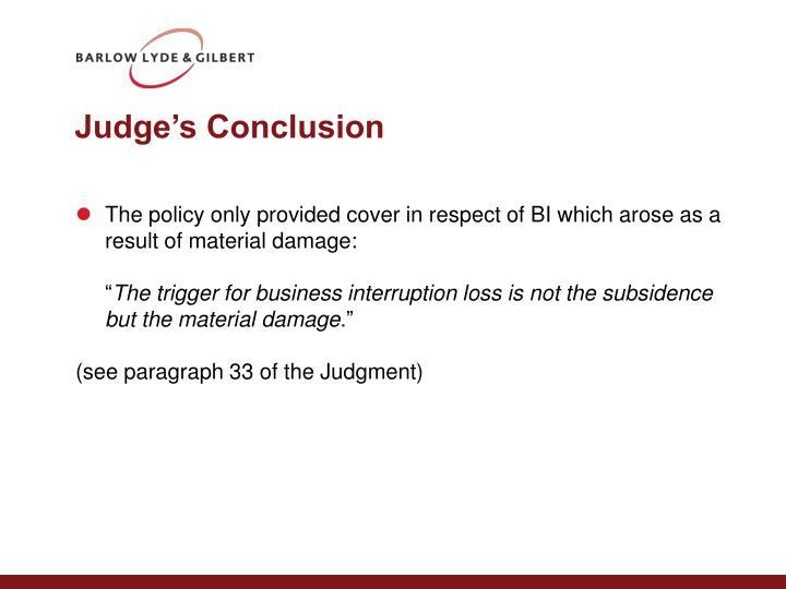 Judge's Conclusion