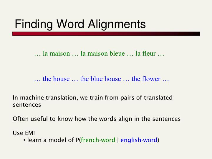 Finding Word Alignments