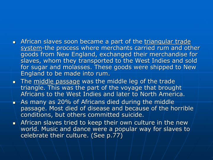 African slaves soon became a part of the
