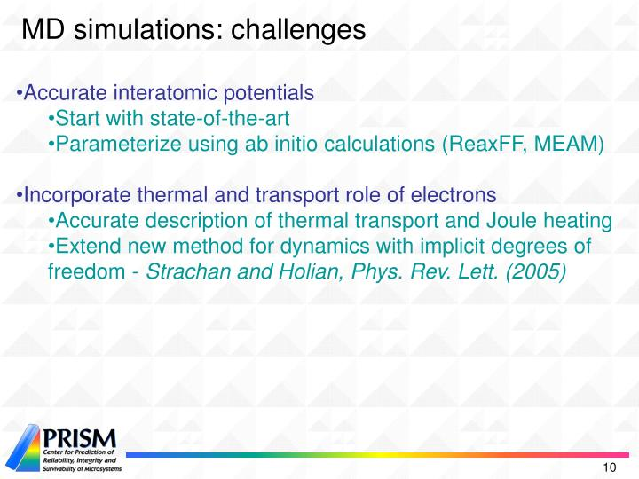MD simulations: challenges