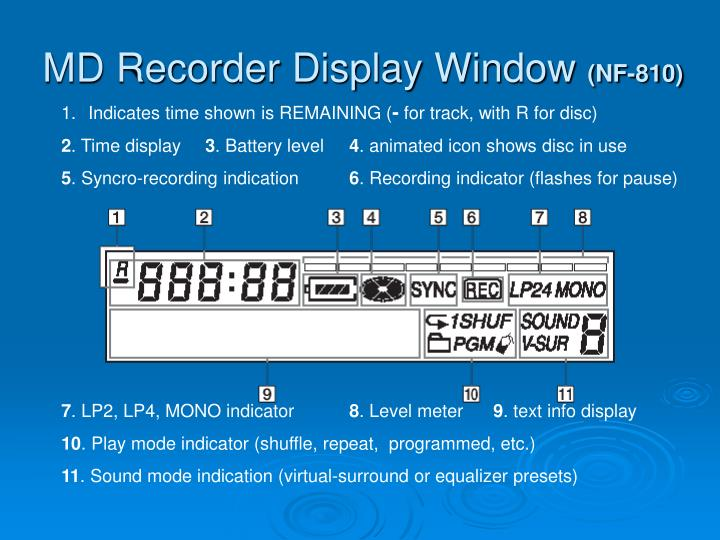 MD Recorder Display Window