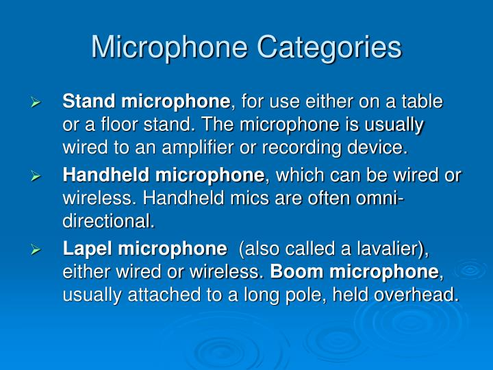 Microphone Categories