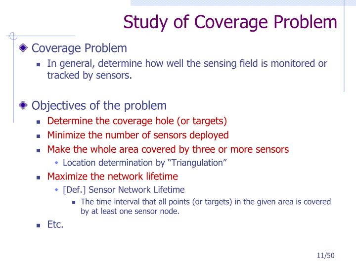 Study of Coverage Problem