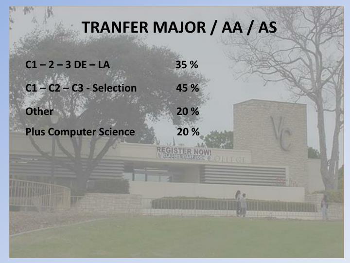 TRANFER MAJOR / AA / AS