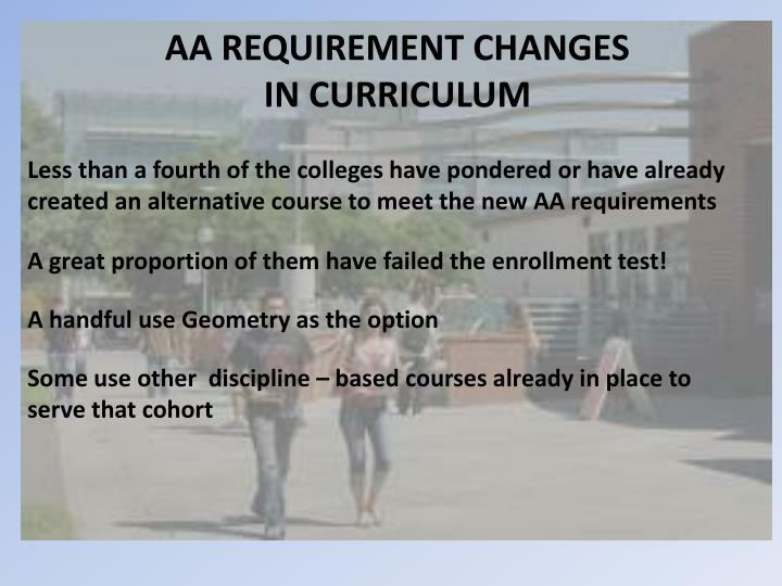 AA REQUIREMENT CHANGES