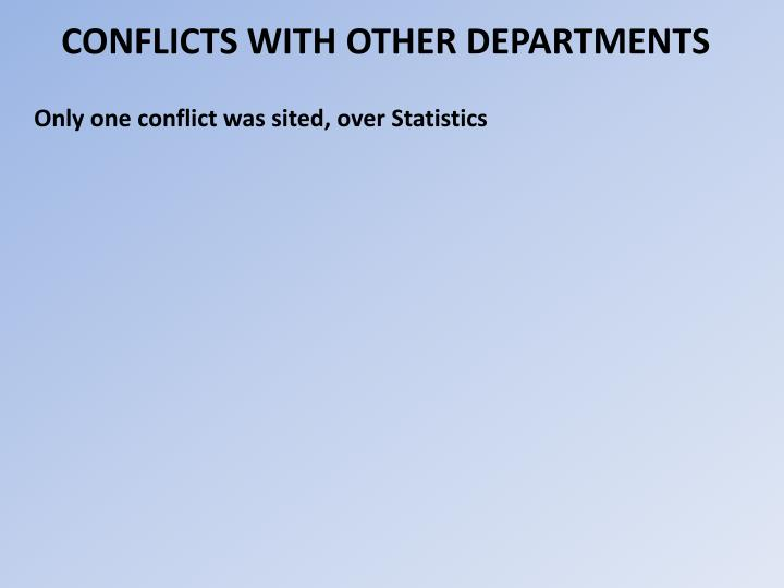 CONFLICTS WITH OTHER DEPARTMENTS
