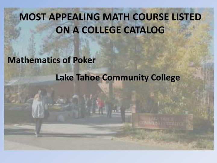 MOST APPEALING MATH COURSE LISTED
