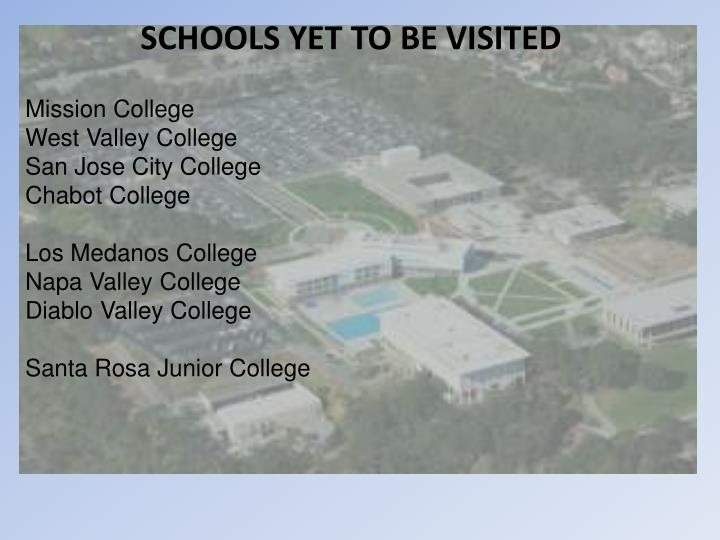 SCHOOLS YET TO BE VISITED