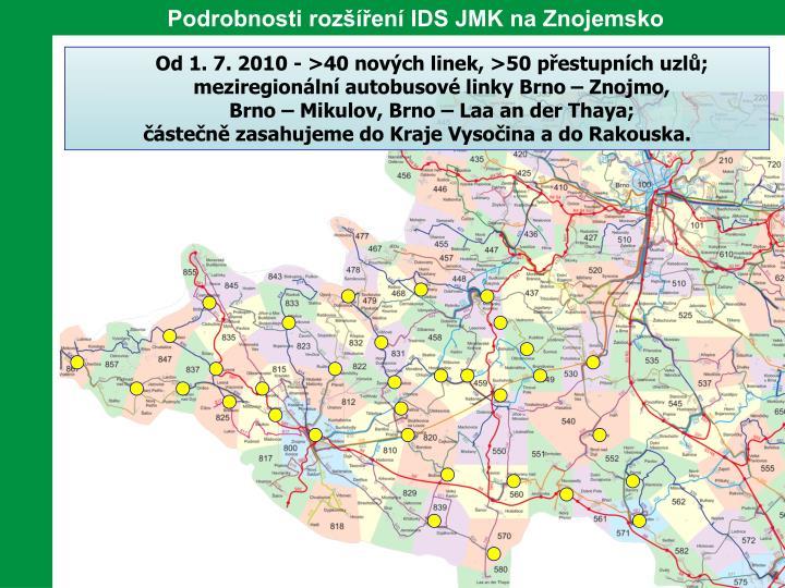 Podrobnosti rozšíření IDS JMK na Znojemsko