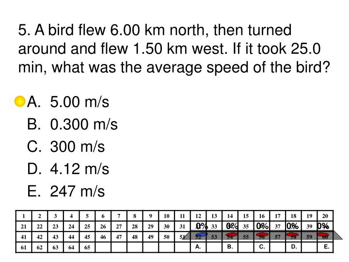5. A bird flew 6.00 km north, then turned around and flew 1.50 km west. If it took 25.0 min, what was the average speed of the bird?