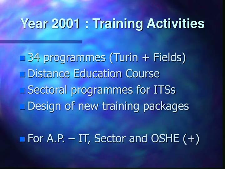Year 2001 : Training Activities