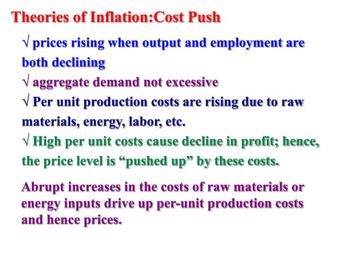 Theories of Inflation:Cost Push
