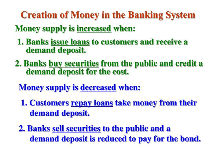 Creation of Money in the Banking System