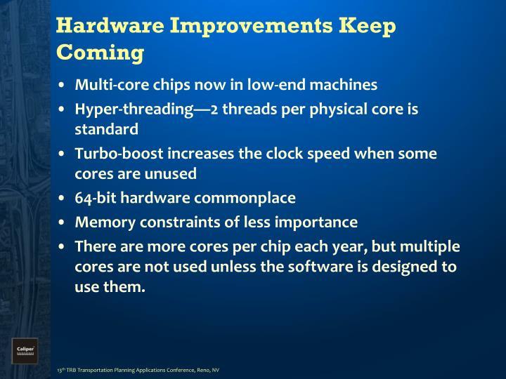 Hardware Improvements Keep Coming