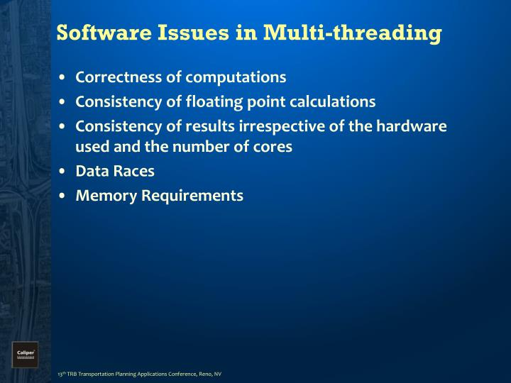 Software Issues in Multi-threading