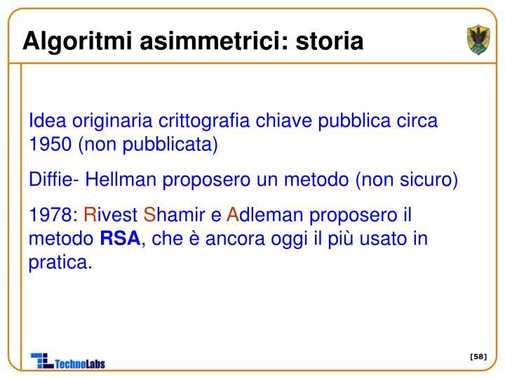 Algoritmi asimmetrici: storia