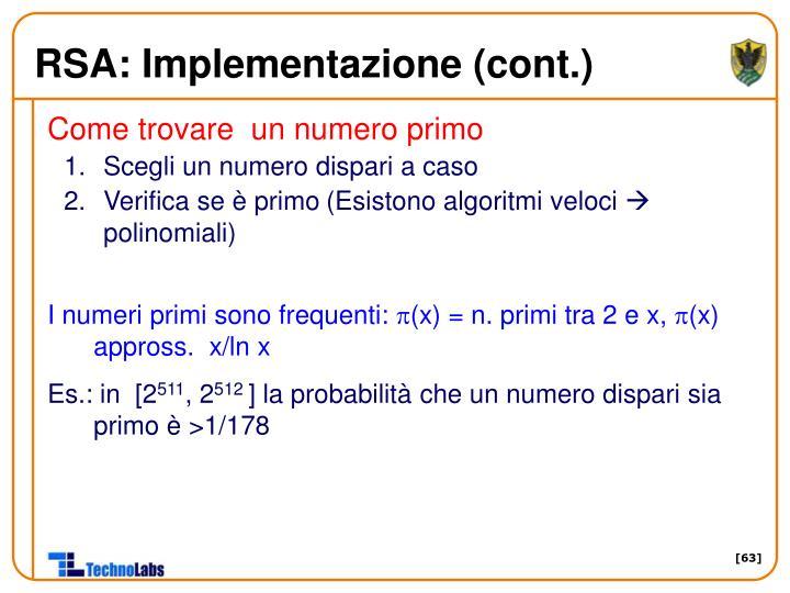 RSA: Implementazione (cont.)