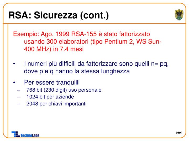 RSA: Sicurezza (cont.)