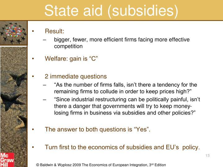State aid (subsidies)