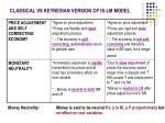 classical vs keynesian version of is lm model