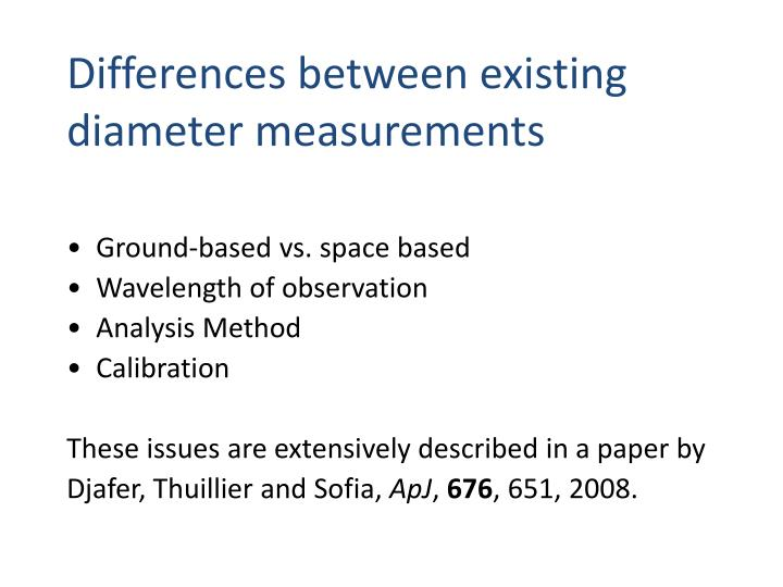 Differences between existing diameter measurements
