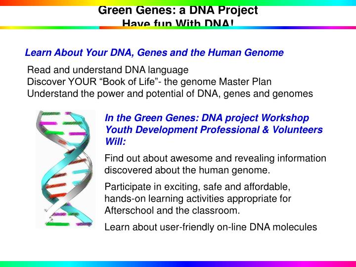 Green genes a dna project have fun with dna