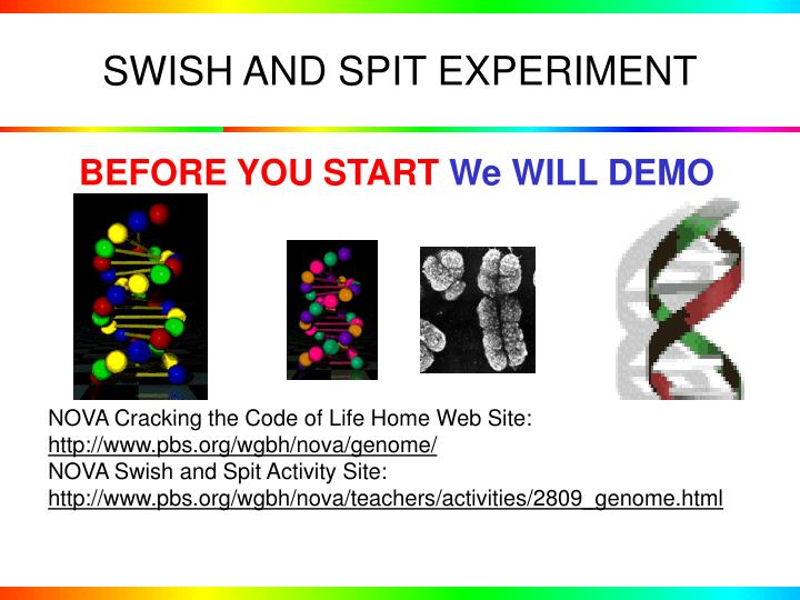 SWISH AND SPIT EXPERIMENT