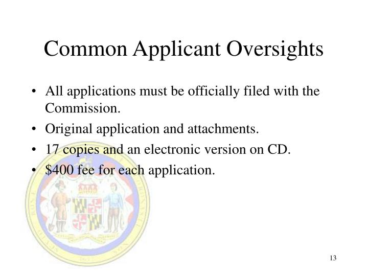 Common Applicant Oversights