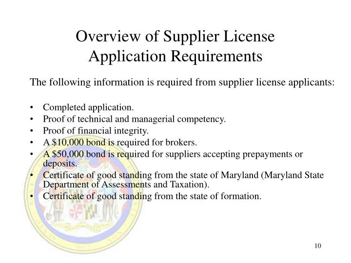 Overview of Supplier License