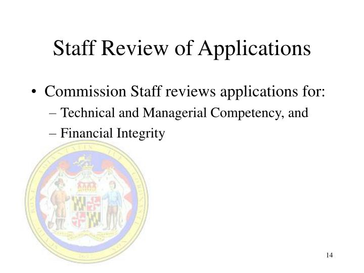 Staff Review of Applications