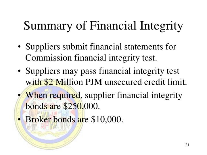 Summary of Financial Integrity