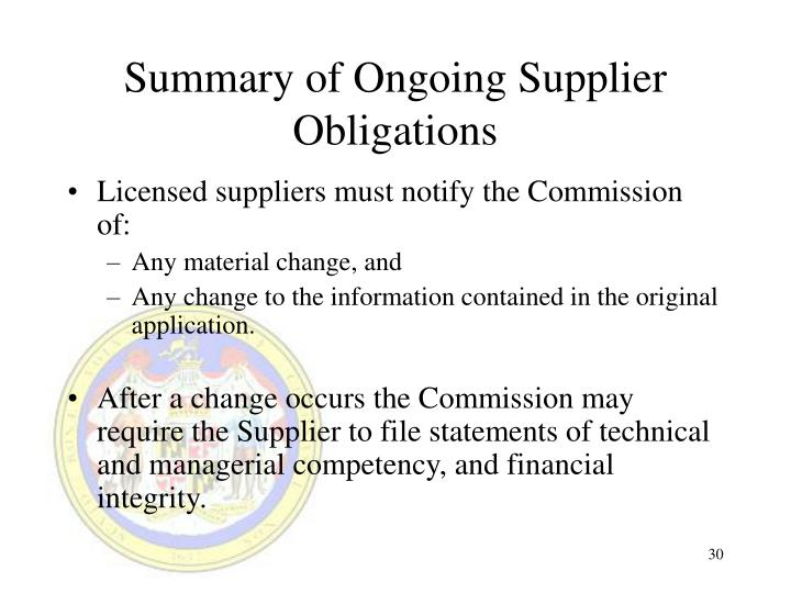 Summary of Ongoing Supplier Obligations