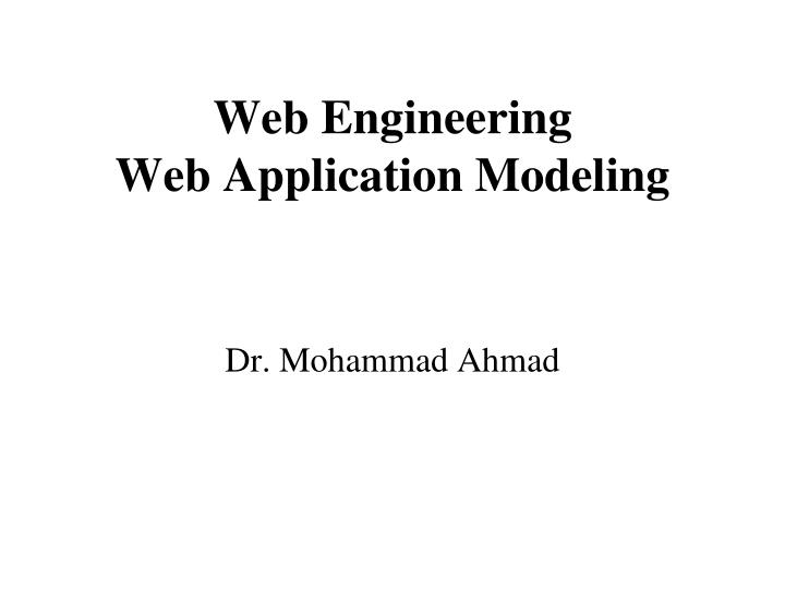 web engineering web application modeling n.
