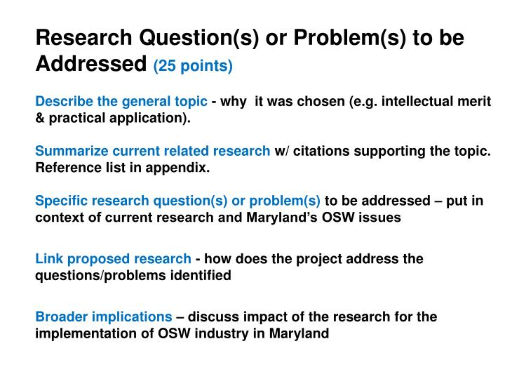 Research Question(s) or Problem(s) to be Addressed