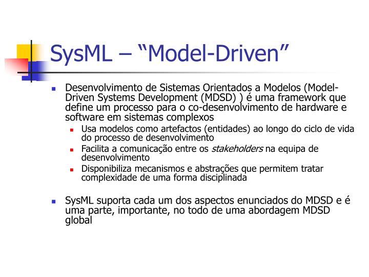"""SysML – """"Model-Driven"""""""