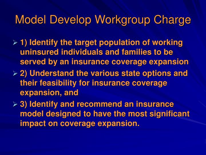 Model develop workgroup charge
