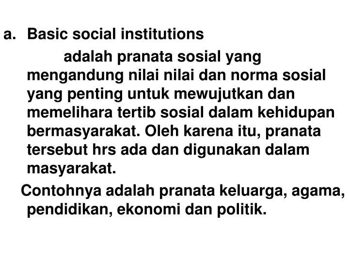 Basic social institutions