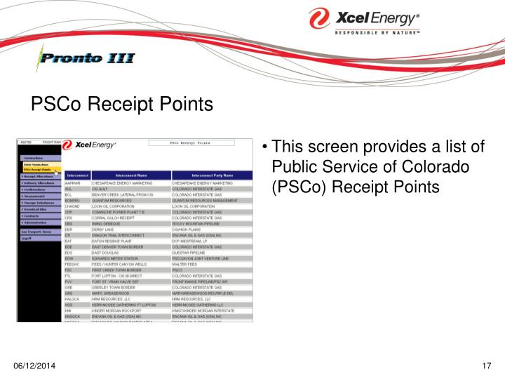 This screen provides a list of Public Service of Colorado (PSCo) Receipt Points