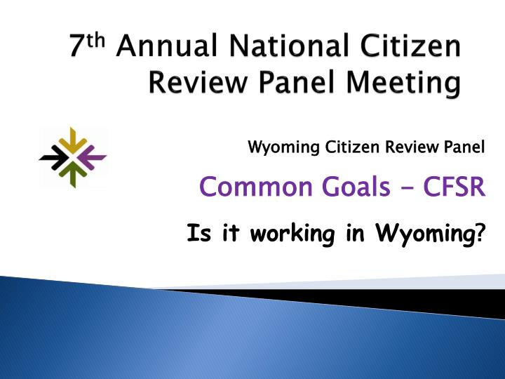 7 th annual national citizen review panel meeting