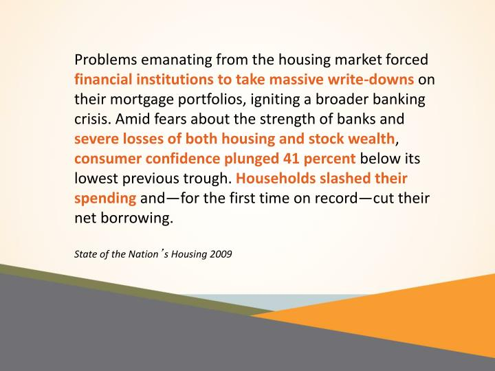 Problems emanating from the housing market forced