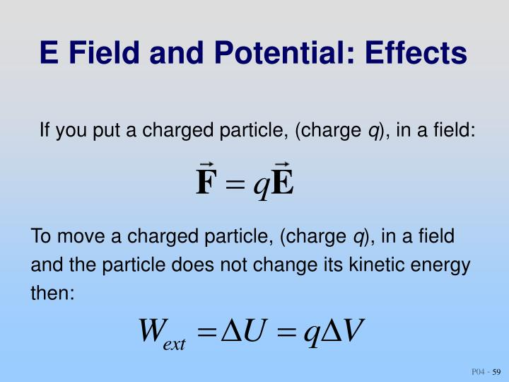 E Field and Potential: Effects