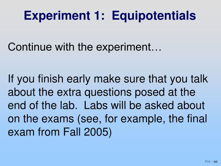 Experiment 1:  Equipotentials