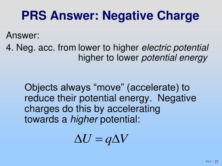 PRS Answer: Negative Charge