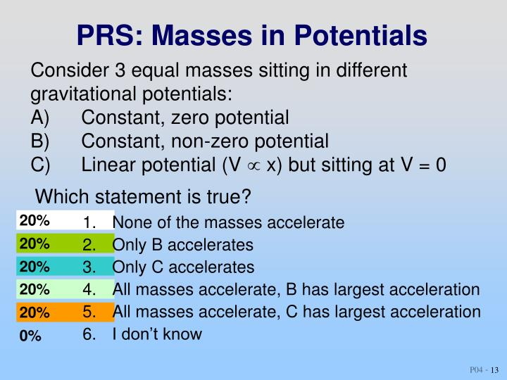 PRS: Masses in Potentials