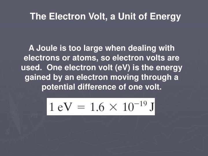 The Electron Volt, a Unit of Energy